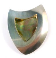 Vintage Large Stainless Steel And Abalone Shell  Modernist Style Brooch By Peak.